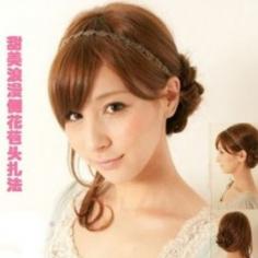 2015年韩式发型扎法图解 超甜美花苞丸子头扎发