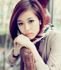时尚女生斜刘海发型图片大全