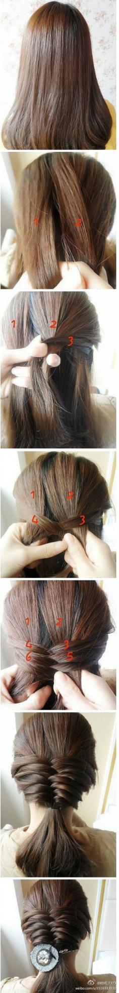 韩式长卷发发型扎法 清爽花苞头编发技巧