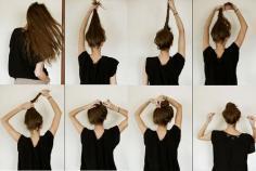 看图片解析丸子头的扎法步骤,学会简单的丸子头扎发
