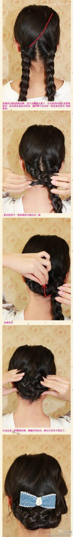 简单三分钟简单夏日麻花辫编发盘发,打造清新优雅的淑女造型