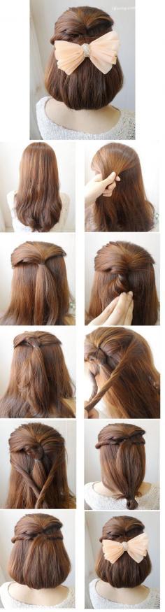 彰显优雅气质的淑女韩式编盘发,长发轻松变短