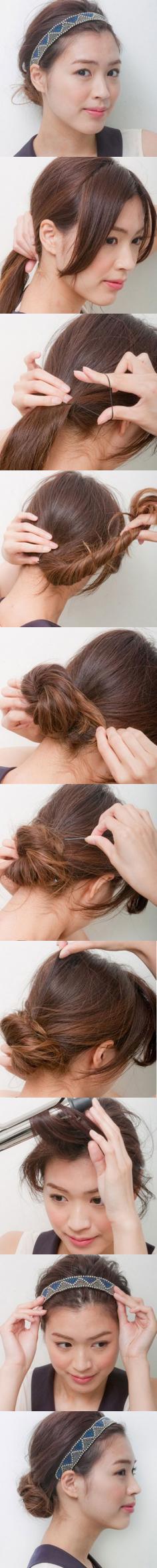 简单丸子头盘发图解 减龄增高速成术