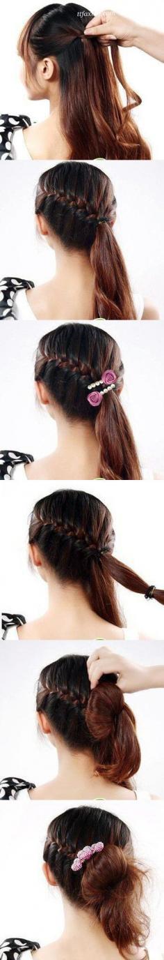 简单的长发发型教程,辫子盘发