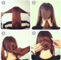 2014简单几招完成长头发怎么扎花苞头