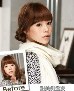 韩式扎头发diy发型 短发梨花头发型图片