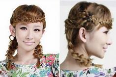 碎花裙的黄金伴侣发型DIY:麻花辫子+荷叶发型