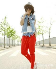 红色哈伦裤搭配图片 这个季节你最时髦