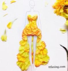 花瓣做的礼服裙 超美超赞的花瓣礼服设计图